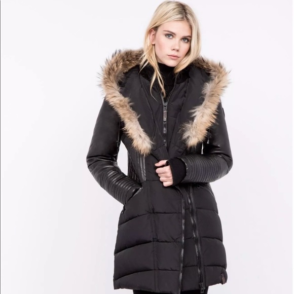 Parka Jacket With Leather Sleeves